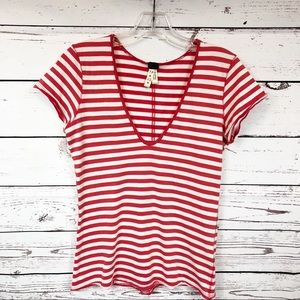 Free People Red and White Striped T-Shirt XS